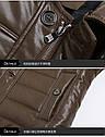 Мужская эко-кожа куртка-пуховик классика с мехом 3 цвета, фото 5