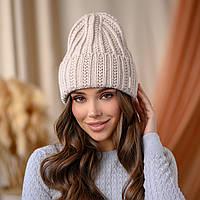 """В'язана шапка """"Летісія"""" колір -світлий беж"""