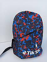 Рюкзак городской / спортивный молодежный с сине-красным принтом разноцветный Tik Tok