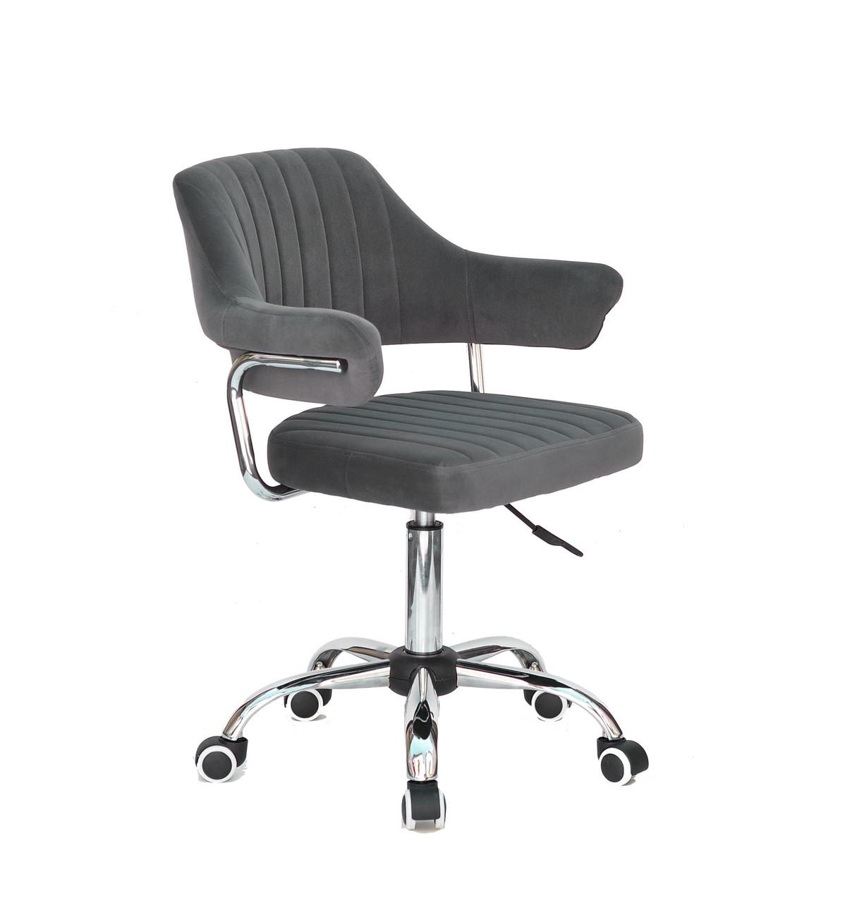 Кресло мастера Джеф JEFF CH - OFFICE серый бархат, на колесах