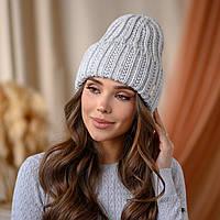 """Вязанная шапка """"Летисия"""" цвет -светло-серый"""