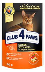 Корм пауч Клуб 4 Лапы PREMIUM Selection для кошек телятина с овощами, 80 г