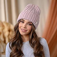 "В'язана шапка ""Летісія"" колір - пудра"