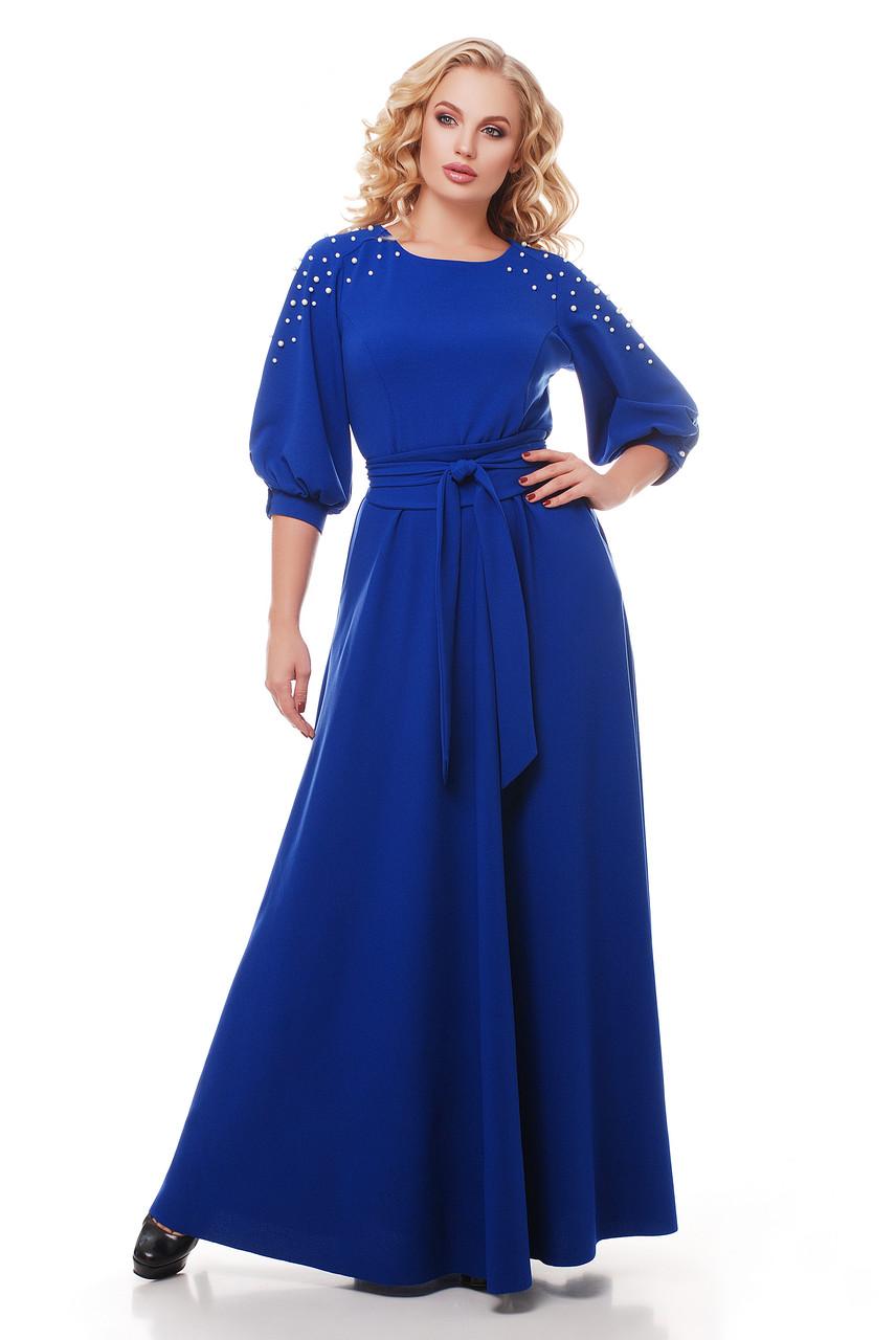 Нарядное платье в пол Вивьен электрик