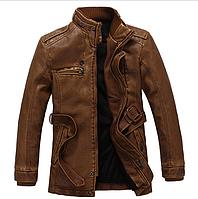 Мужская удлиненная кожаная куртка  3 цвета, фото 1