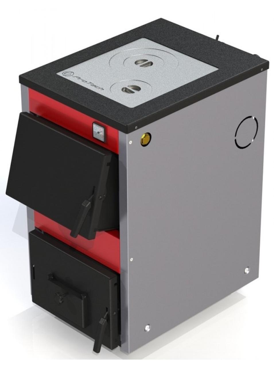 Твердотопливный котел ProTech D Luxe ТТП-12 кВт с варочной поверхностью (рабочей цикл от 8 до 16 ч.)