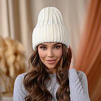 """В'язана шапка """"Летісія"""" колір -білий"""