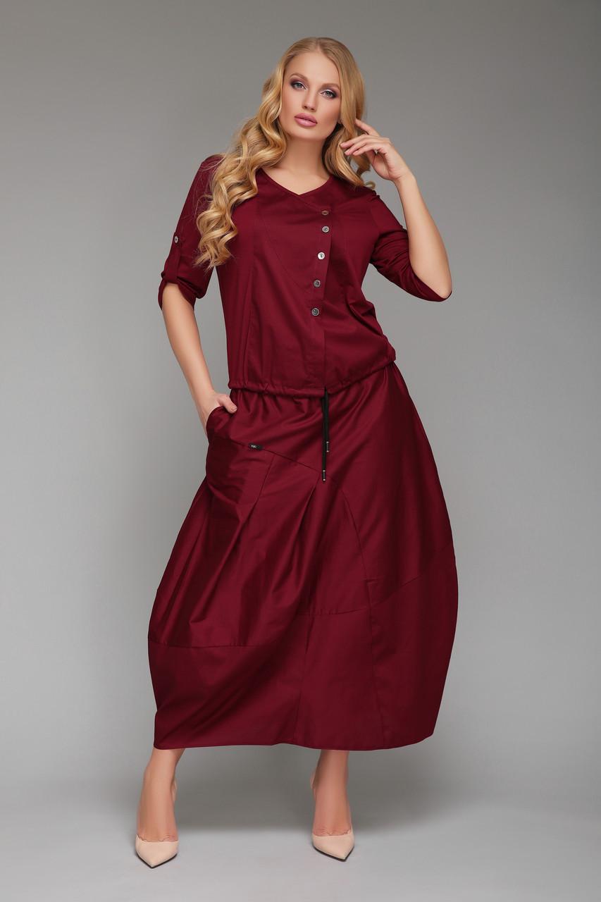 Летний костюм юбочный Софико бордо