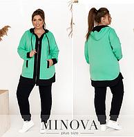 Спортивный костюм двунитка батал цвет ментол-синий Minova Размеры: 50-52, 54-56, 58-60, 62-64