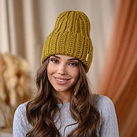 """В'язана шапка """"Летісія"""" колір -лайм"""
