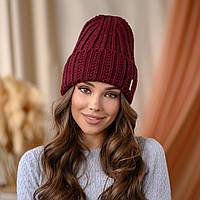 """В'язана шапка """"Летісія"""" колір -темна вишня"""