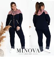 Спортивный костюм двунитка батал цвет фреза-синий Minova Размеры: 50-52, 54-56, 58-60, 62-64