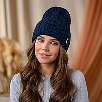 """В'язана шапка """"Летісія"""" колір - синій"""