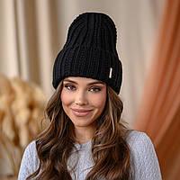 """В'язана шапка """"Летісія"""" колір - чорний"""