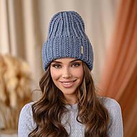 """В'язана шапка """"Летісія"""" колір джинс"""