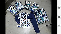 Пижама для мальчика на 1-4 лет голубого, синего цвета оптом