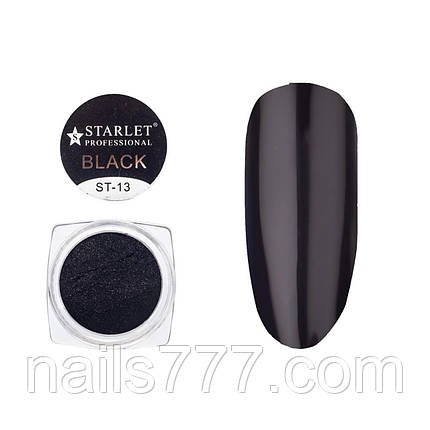 Втирка зеркальная Черная ST-13 для ногтей, 5гр, фото 2