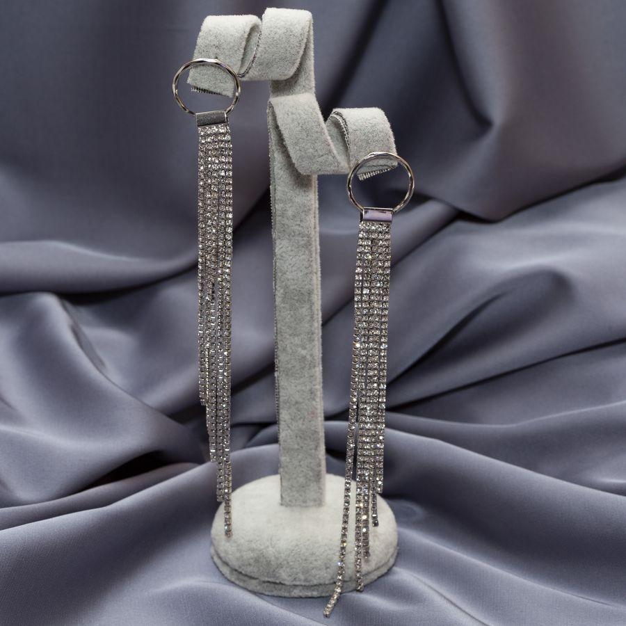 Серьги длинные с камнями D 01