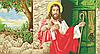 Иисус с отарой  Схема полной вышивки бисером