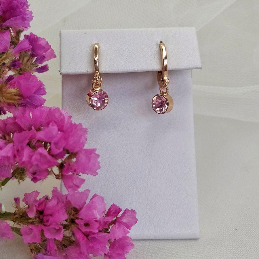 Серьги с розовой подвеской 925 КН01 AD