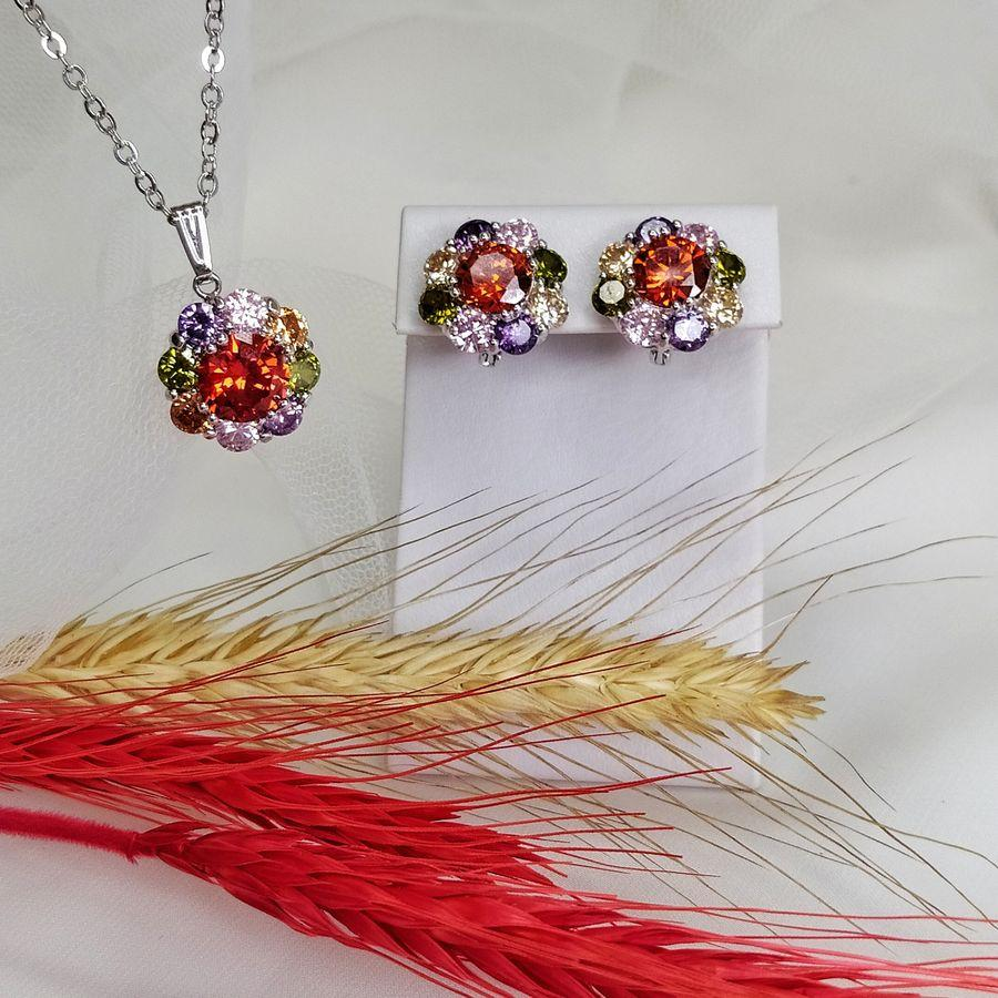 Гарнитур с разноцветными цветами T 0346, N