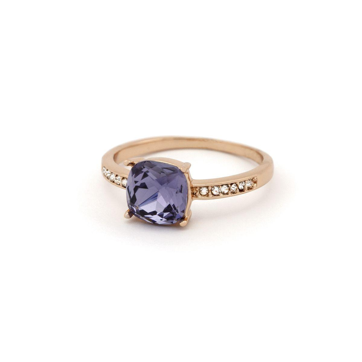 Кольцо с фиолетовым камне квадратной формы 678 KH01 AC
