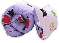 "Одеяло лебяжий пух ""Cats"" 1.5-сп. + 1 подушка 40х60, фото 1"