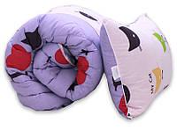 "Одеяло лебяжий пух ""Cats"" 1.5-сп. + 1 подушка 50х70, фото 1"