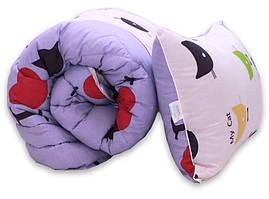 """Одеяло лебяжий пух """"Cats"""" 1.5-сп. + 1 подушка 50х70"""