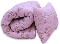 "Одеяло лебяжий пух ""Мишки розов."" 1.5-сп. + 1 подушка 40х60, фото 1"