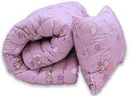 "Одеяло лебяжий пух ""Мишки розов."" 1.5-сп. + 1 подушка 50х70"
