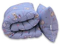 "Одеяло лебяжий пух ""Мишки син."" 1.5-сп. + 1 подушка 40х60, фото 1"