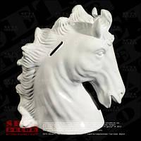 Копилка, статуэтка Голова лошади керамическая, открывающаяся белого цвета