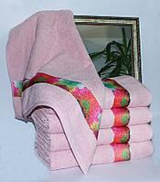 Полотенце махровое Весна розовое сердца 70х140