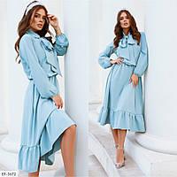 Модное женское осеннее платье с оборками и длинным рукавом