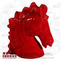 Копилка, статуэтка Лошадь керамическая, отрывающаяся красного цвета