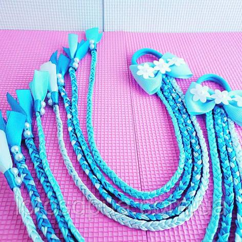 Бант c косичками, голубой, фото 2