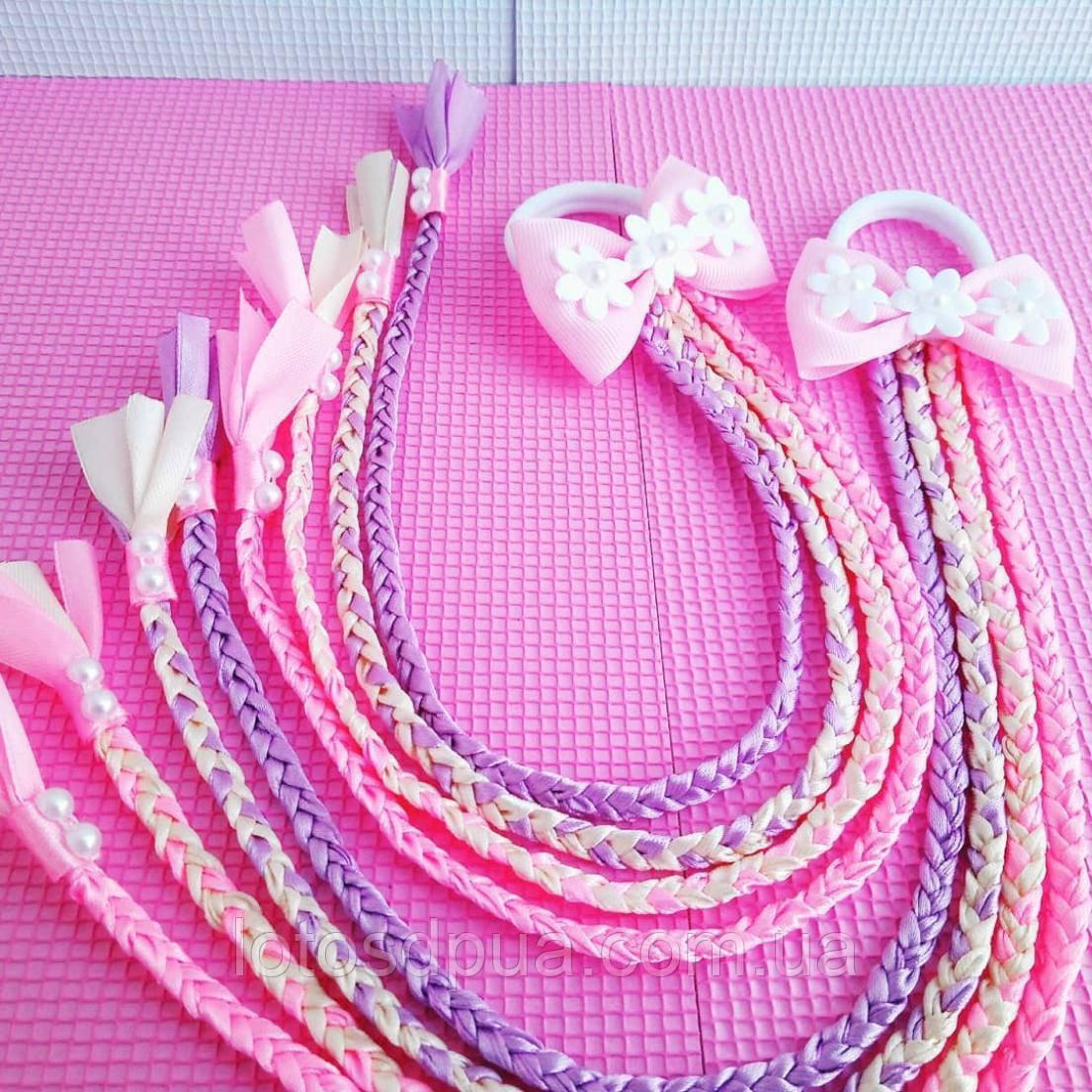 Бант c косичками, розовый