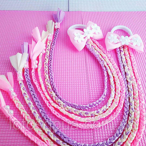 Бант c косичками, розовый, фото 2