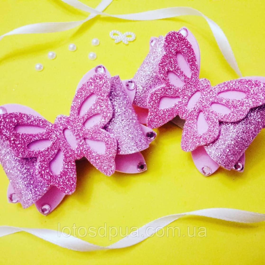 """Шпилька """"Метелик зі стразами"""", рожева"""