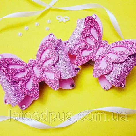 """Шпилька """"Метелик зі стразами"""", рожева, фото 2"""