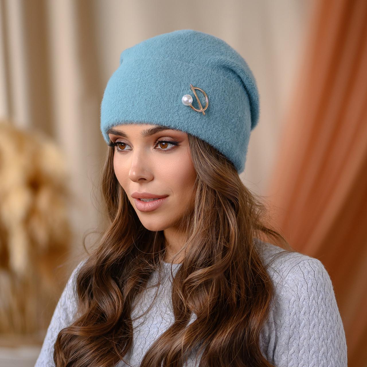 """В'язана шапка """"Юліана"""" колір-м'ята"""
