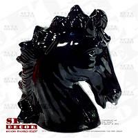 Копилка, статуэтка Голова лошади керамическая, открывающаяся чёрного цвета