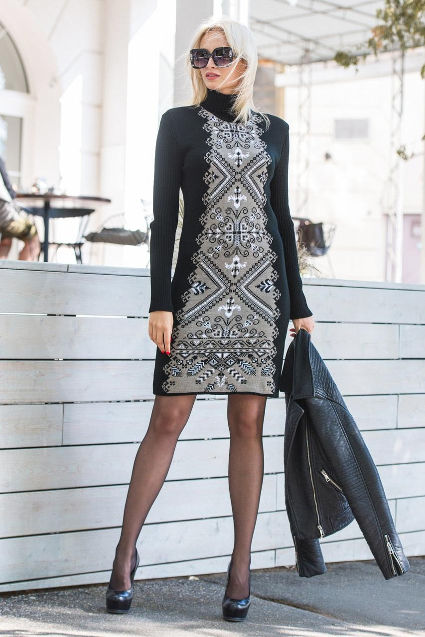 Теплое вязаное платье «Ольга»