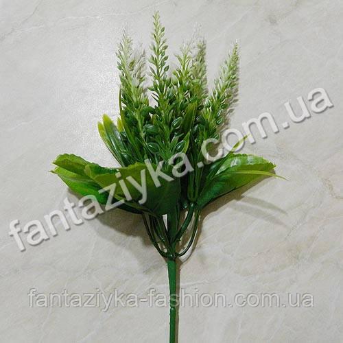 Веточка лаванды с тканевыми листиками, белая