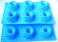Силиконовая форма для выпечки  6 кексов с отверстием