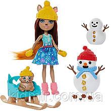 Набор Enchantimals Лепим Снеговика и кукла Шарлотта Белка на санках GNP16