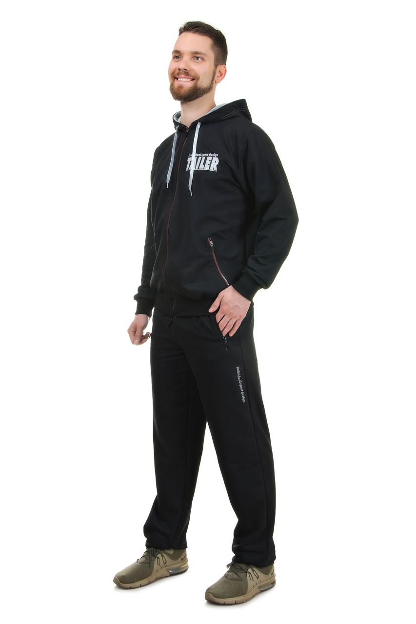 Собственное производство / Мужской демисезонный трикотажный спортивный костюм  на молнии с капюшоном Tailer (2091) черный, 54