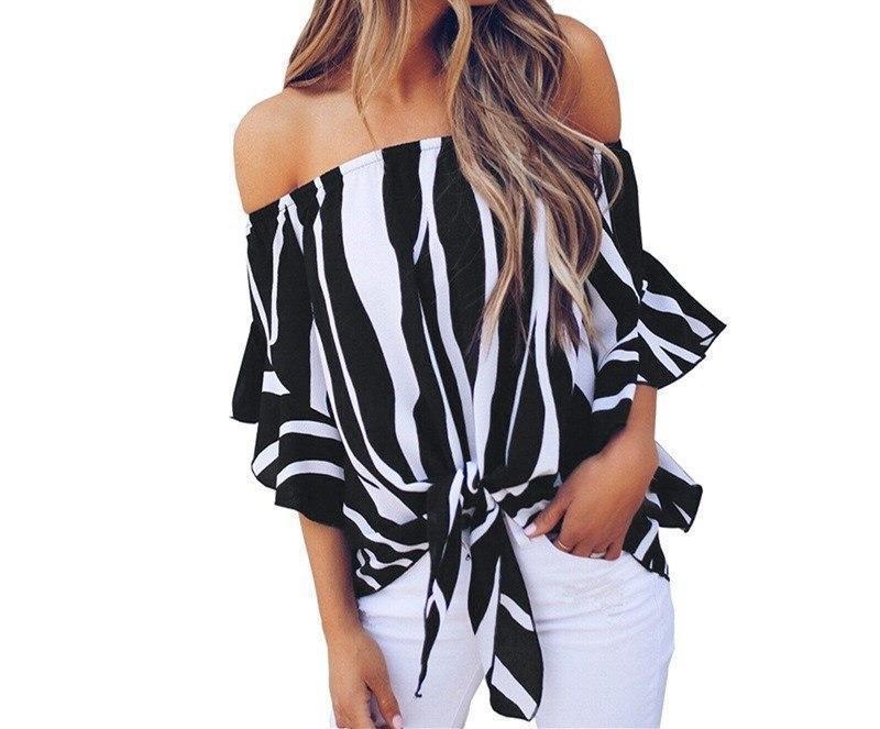 Женская шифоновая блуза в полоску с открытыми плечами 8313379