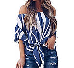 Жіноча шифонова блуза в смужку з відкритими плечима 8313379, фото 2